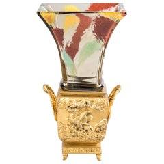 Bronze and Glass Vase, Escalier De Crystal Vase, circa 1890