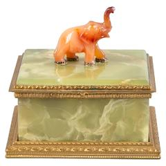 Bronze-Mounted Onyx Box with Agate Elephant, circa 1900