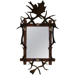 19th Century Black Forest Antler Mirror
