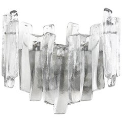 1960s Large Kalmar Ice Glass Sconce, 1960s