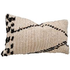 Vintage Hand Loomed Wool Beni Ouarian Moroccan Pillow, Atlas Mountains