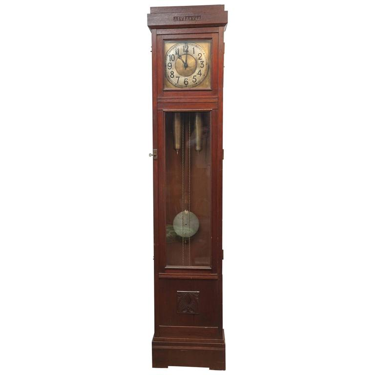 German Arts And Crafts Tall Case Clock Lenzkirch Circa