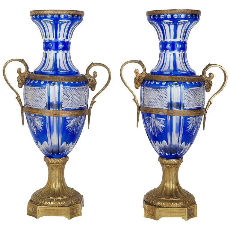 Pair of Blue and Clear Cut Crystal and Bronze Vases with Scroll Handles