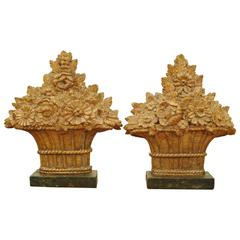 Pair French Louis XVI Period Carved Giltwood Floral Baskets, faux marble bases