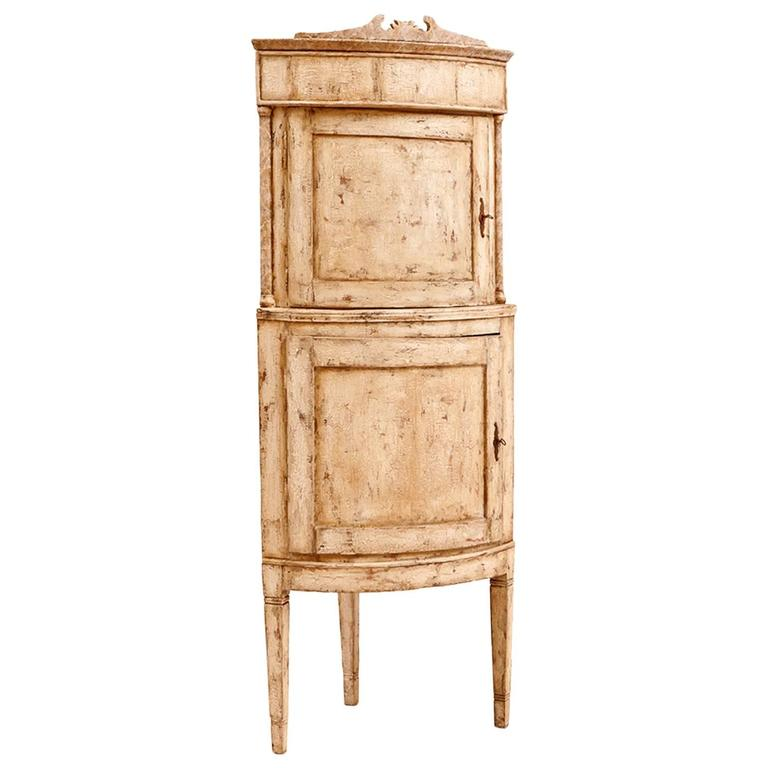 Painted 18th Century Scandinavian Corner Cupboard