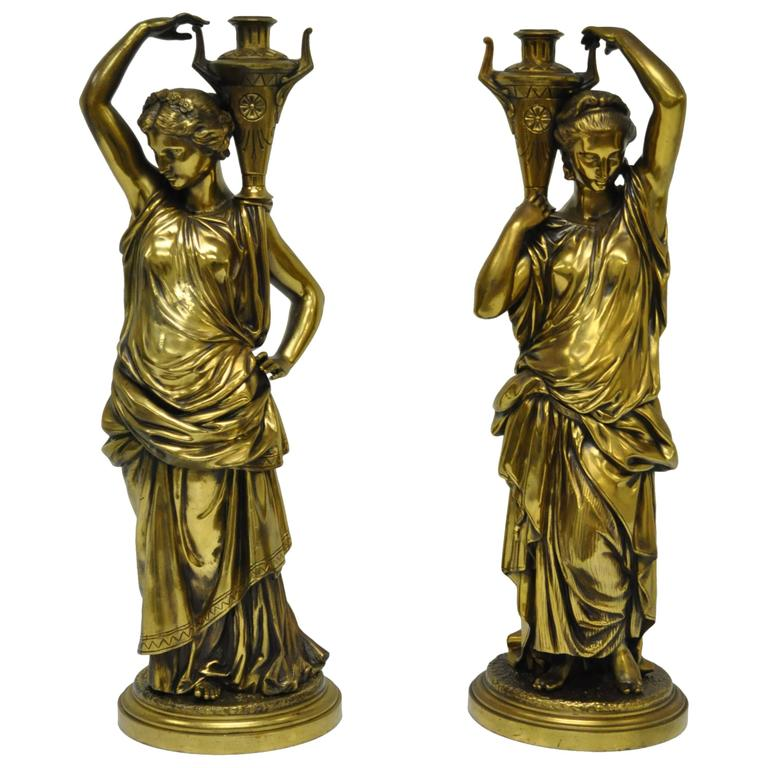 Pair of 19th Century French Classical Finely Cast Bronze Maiden Statues For Sale