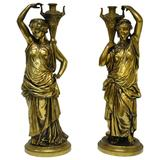 Pair of 19th Century French Classical Finely Cast Bronze Maiden Statues