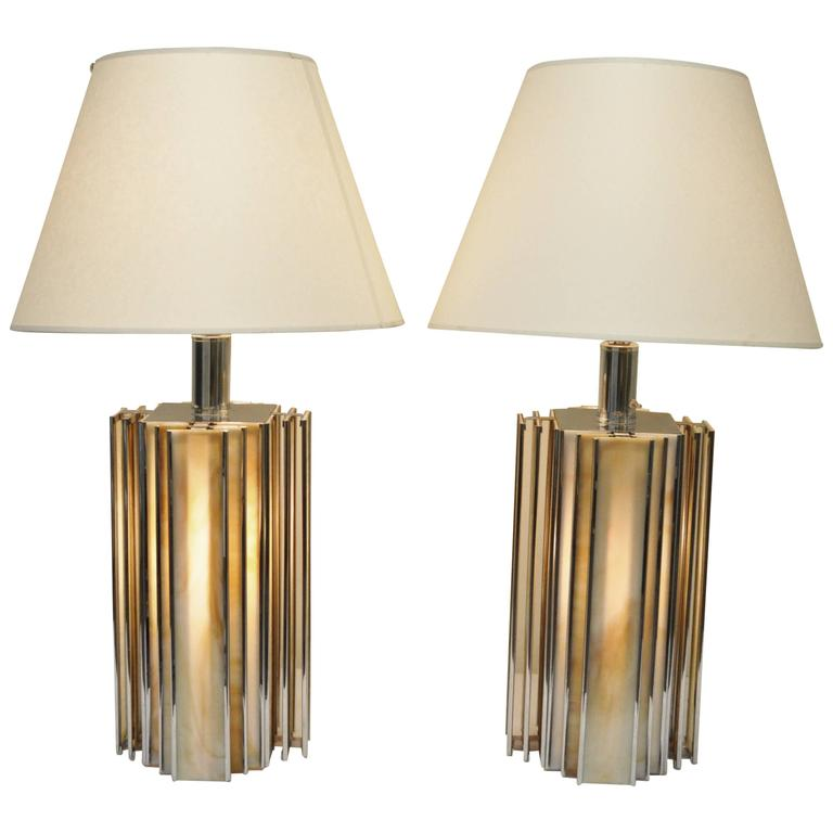 Pair Of Mid Century Modern Chrome And Slag Gl Table Lamps Art Deco Style