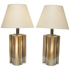 Pair of Mid-Century Modern Chrome and Slag Glass Table Lamps, Art Deco Style