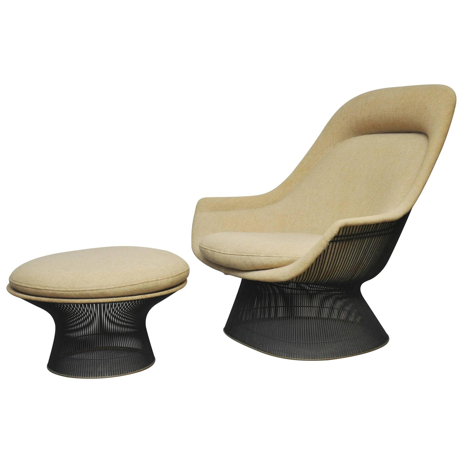 Warren platner bronze lounge chair with ottoman for knoll at 1stdibs