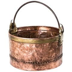 Large 19th Century French Hand-Hammered Riveted Copper and Brass Cauldron