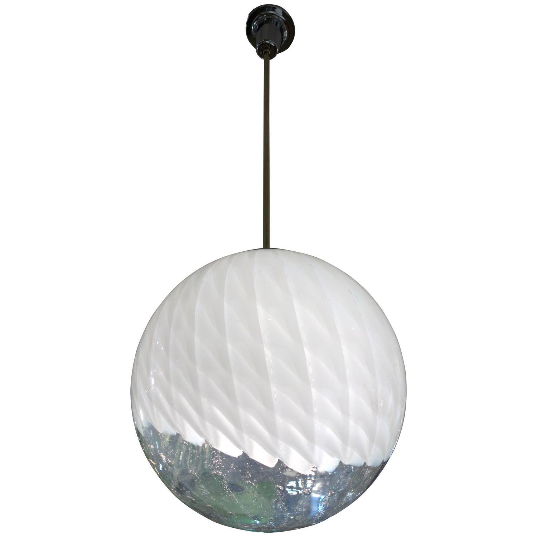 Large Mid Century Italian Murano Glass White Globe Or