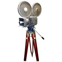 Motion Picture Newsreel Camera, All Factory Original with Orig Wood Tripod, Rare
