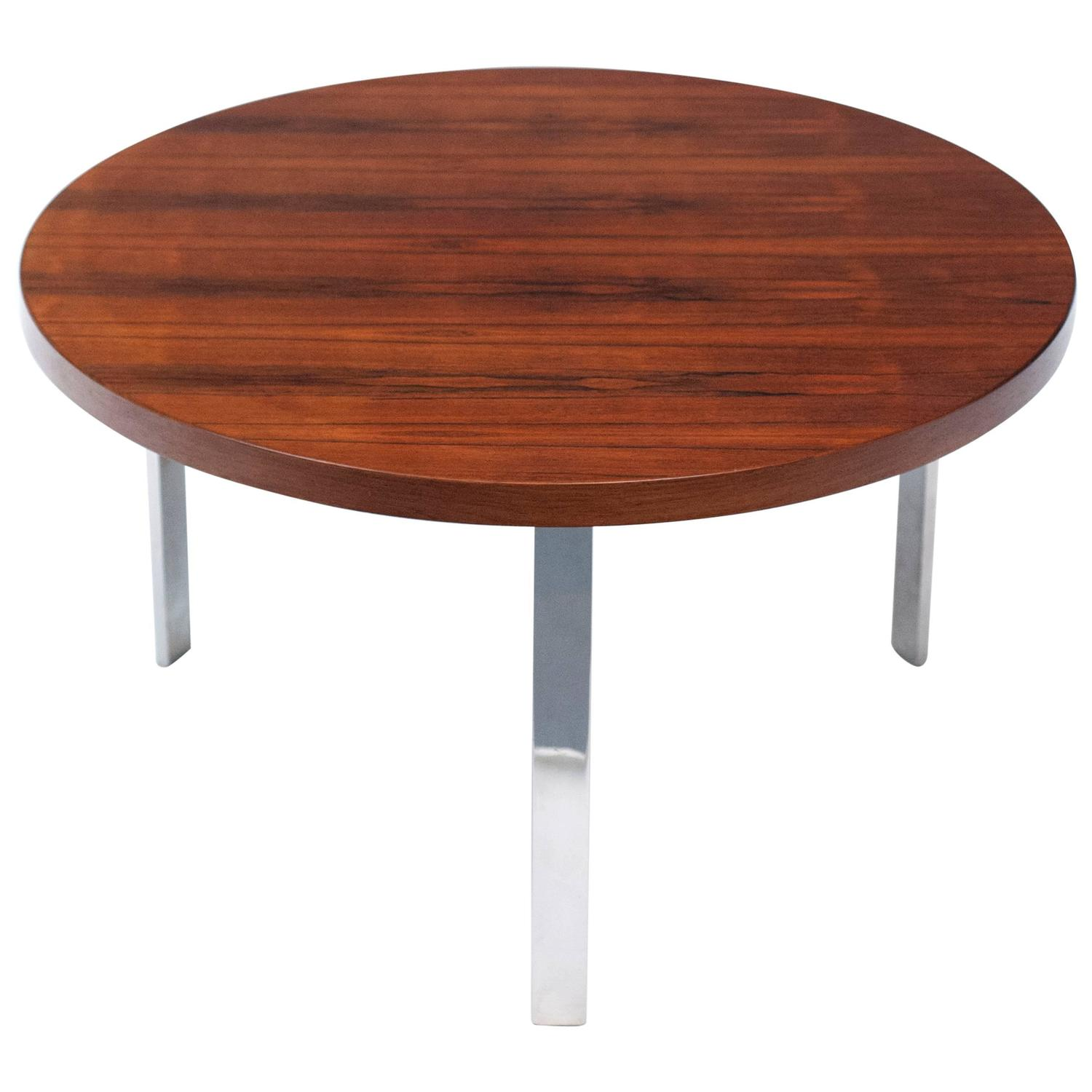 Danish Round Modern Rosewood And Chrome Coffee Table For Sale At 1stdibs