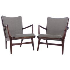 Pair of Extremely Rare Danish Modern Teak Armchairs Designed by Hans Wegner