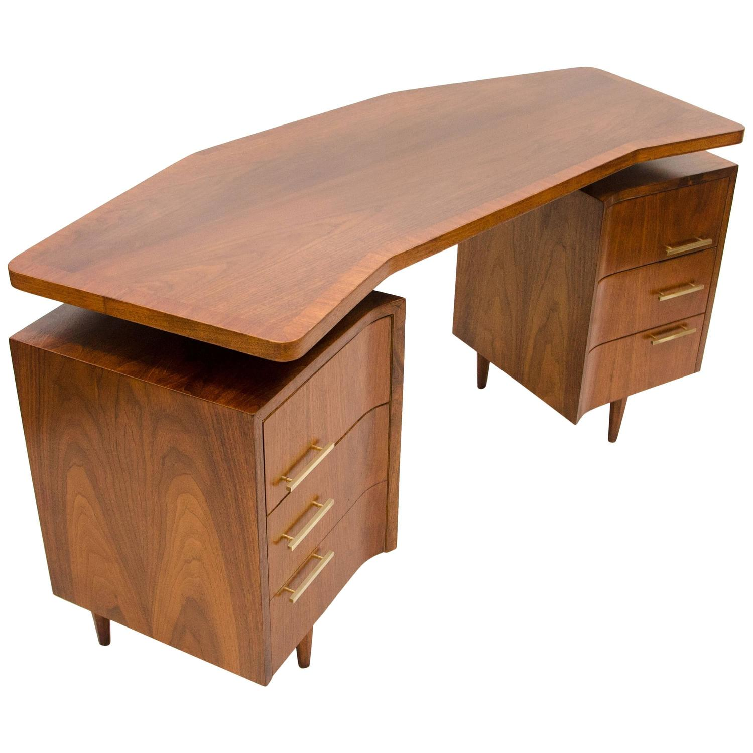 Midcentury Walnut Curved Desk Floating Top At 1stdibs