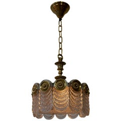 Italian Murano Glass and Brass Chandelier