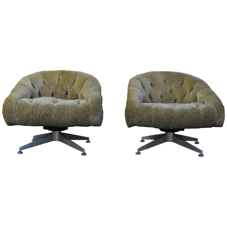 Pair of Ward Bennett Swivel Lounge Chairs