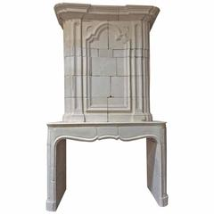 Antique Limestone Mantel with Trumeau