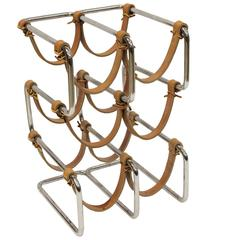 Stylish Mid-Century Chrome and Leather Wine Rack
