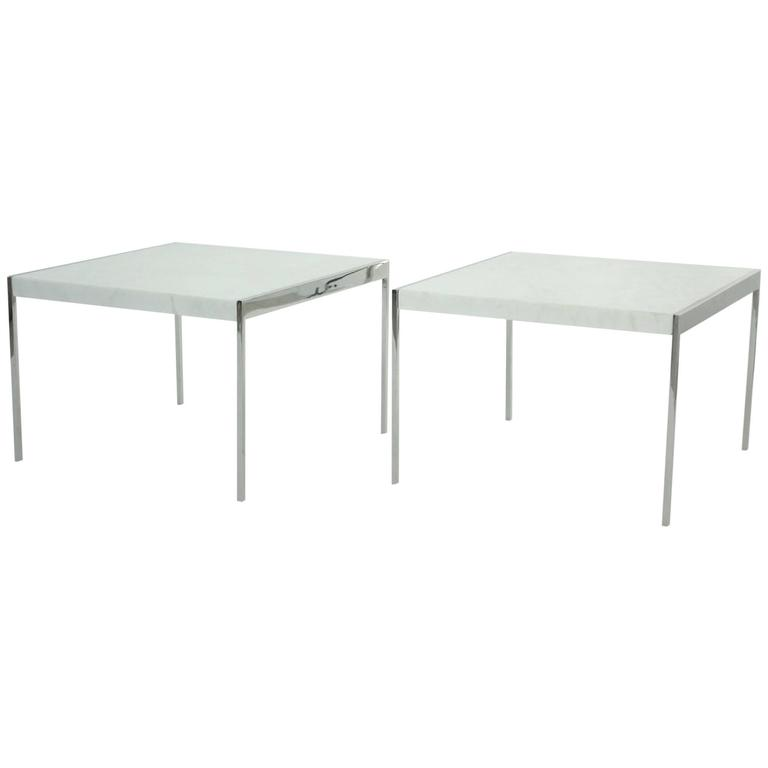 Pair of Mid-Century Chrome Steel and Marble Tables 1