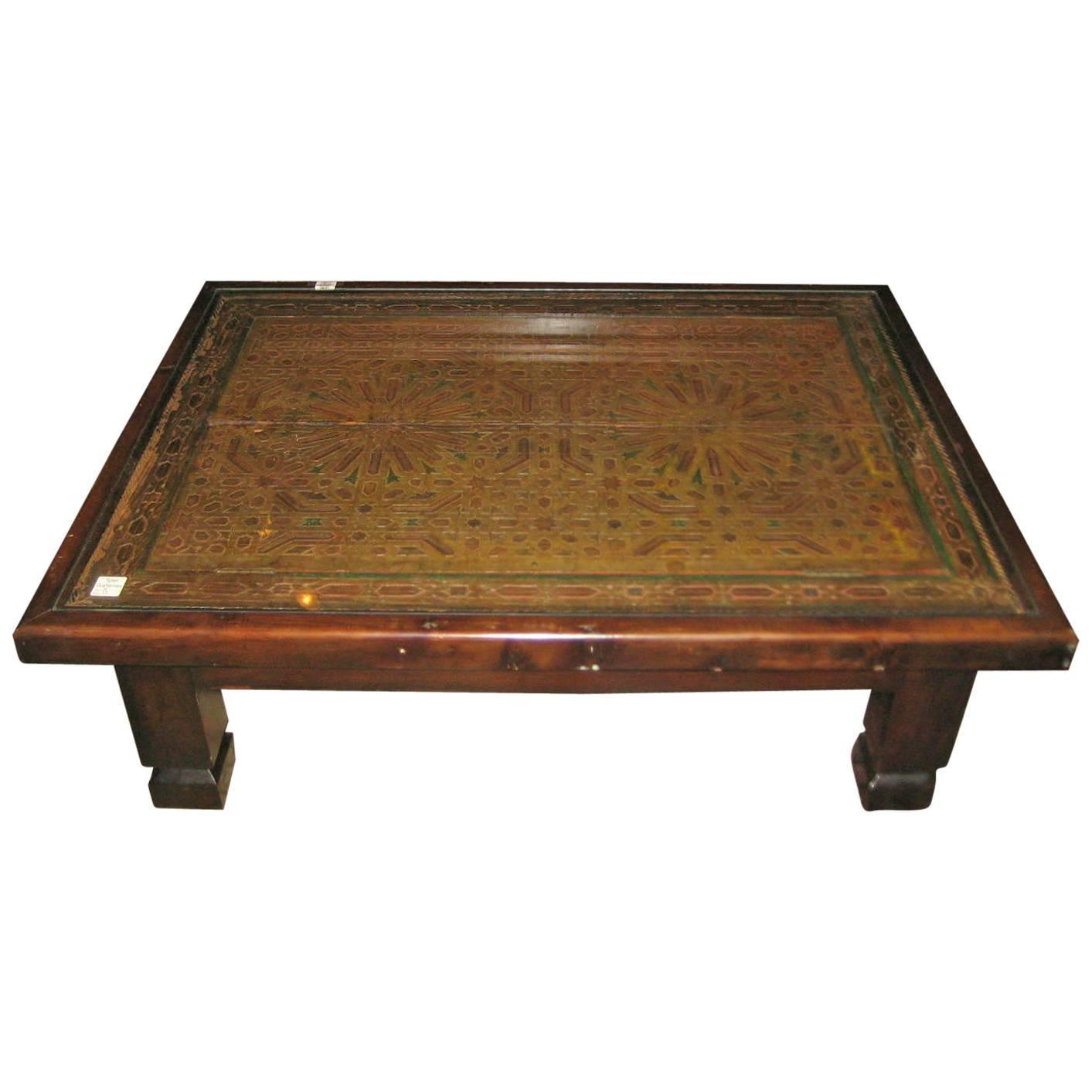Moroccan carved wood and polychrome cocktail table for sale at 1stdibs Carved wood coffee table