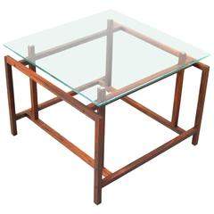 Danish Rosewood and Glass End Table by Henning Norgaard
