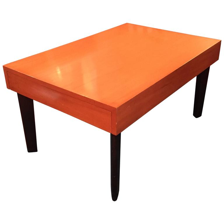 George Nelson Satinwood Coffee Table With Pull Out Trays For Sale At 1stdibs