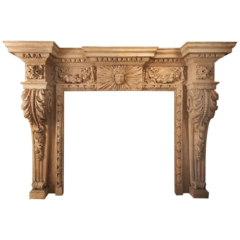 Large George-II Fireplace in Painted Wood