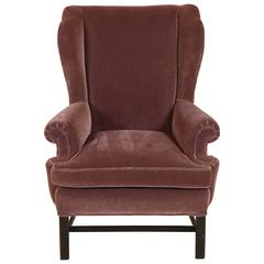 French Style Mohair Club Chair, Plum Color