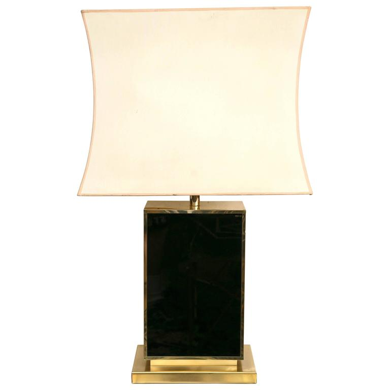 Black Lacquer and Gold Tone Table Lamp in the Manner of Romeo Rega For Sale