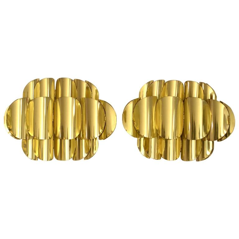 Pair of Brass Hans-Agne Jakobsson Wall Sconces
