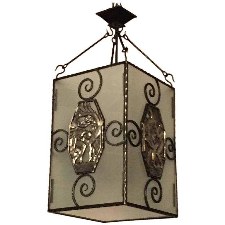 French Art Deco Lantern / Chandelier with Mythical Plaques  For Sale