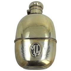 Silver and Vermeil and Glass Flask, 20th Century, with Initials ML