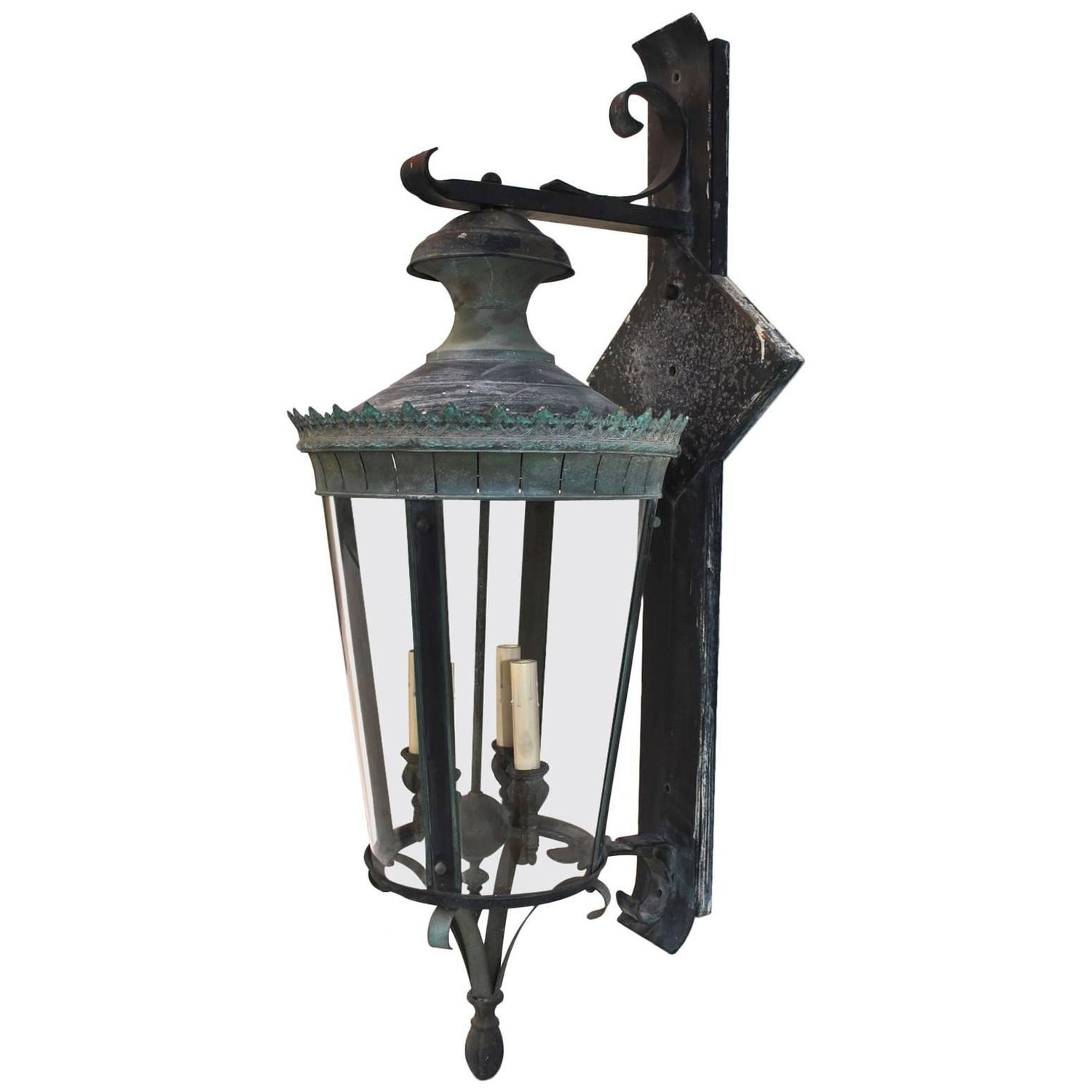 Metal Outdoor Wall Lights : Large 1940 Brass/Metal Outdoor Sconces with the Matching Lantern at 1stdibs