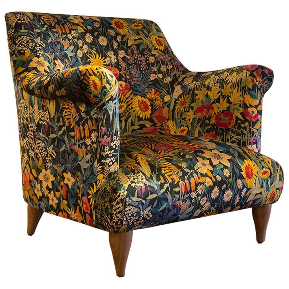 Goddard Armchair In Liberty Faria Flowers Marigold Velvet For Sale At  1stdibs