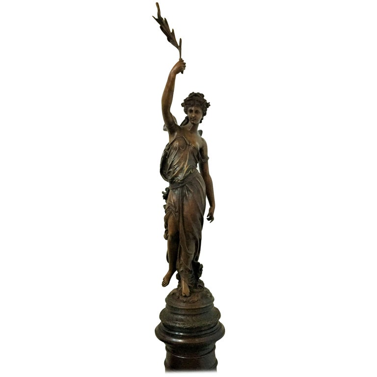 Monumental Spanish Bronze Lady Sculpture by Barbediene Fundition For Sale
