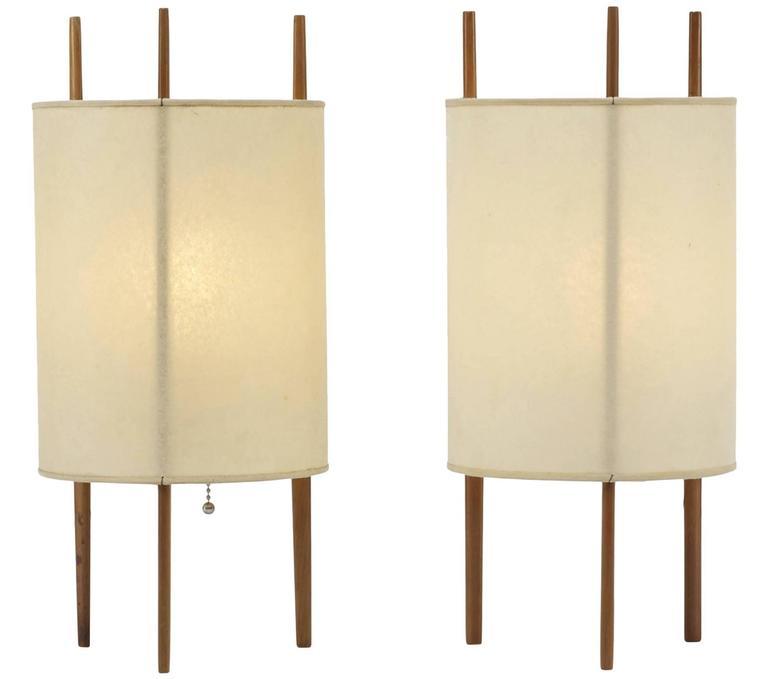 Isamu Noguchi Cylinder Lamps Cherrywood And Fiberglass 1947 At 1stdibs