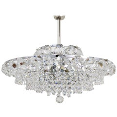 Beautiful Bakalowits Chandelier with Diamond-Shaped Crystals, Austria, 1950