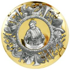 Piero Fornasetti Gilded Plate Falstaff by Guiseppe Verdi, Italy, 1970s