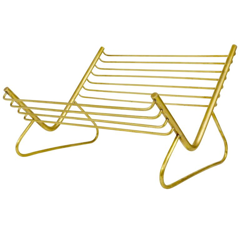 Carl Aubock Modernist Book Stand, Brass, Austria, 1950s For Sale