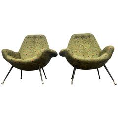 Pair of Exceptional Italian Mid-Century Lounge Chairs