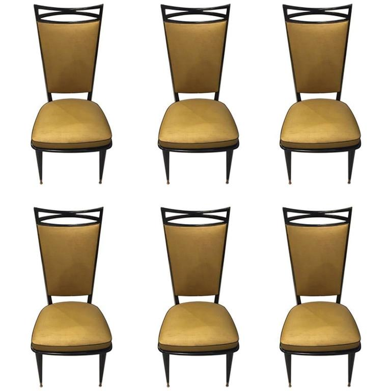 Set of Six French Art Deco Ebonized Dining Chairs, circa 1940s For Sale