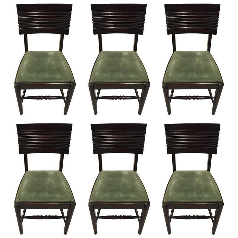 Six Gaston Poisson Attributed French Art Deco Dining Chairs For Sale