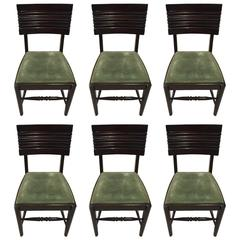 Six Gaston Poisson Attributed French Art Deco Dining Chairs
