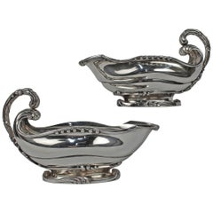 Pair of Art Nouveau Dutch Sterling Silver Sauce Boats with Cattails by Ph Saakes
