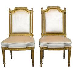 19th Century Louis XVI Giltwood Hall Chairs