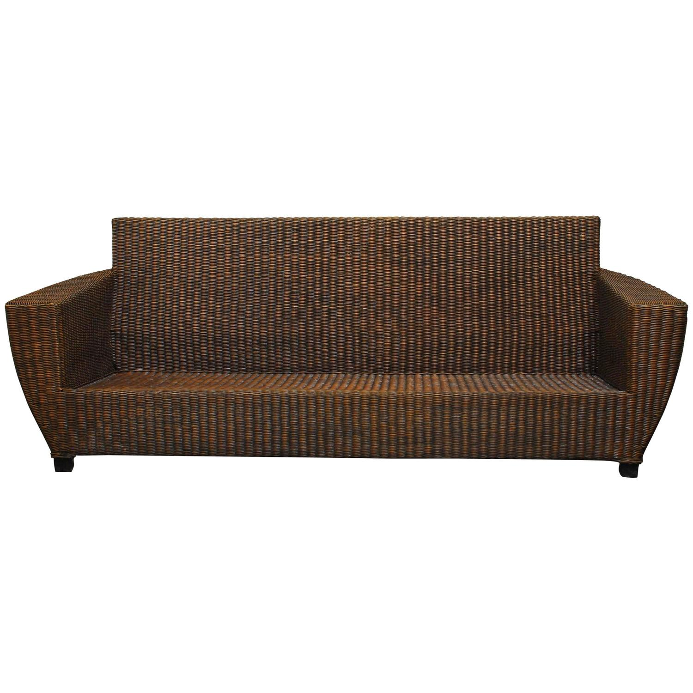 Modern wicker flat arm sofa at 1stdibs for Modern rattan sofa