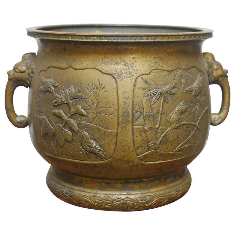 Japanese Bronze Meiji Period Urn Planter
