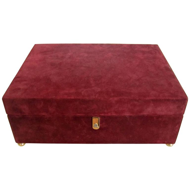 Beautiful Mark Cross Burgundy Suede and Leather Jewelry Box Italy